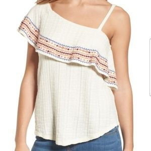LUCKY BRAND EMBROIDED ONE SHOULDER BLOUSE